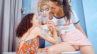 Curly, Dayana Kamil – Lesbians share ice-cream and dildo – BeautyAngels  – Brazzztube